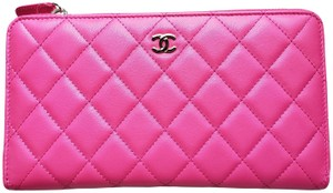 Chanel * New * Large Quilted Lambskin Leather Zip Wallet