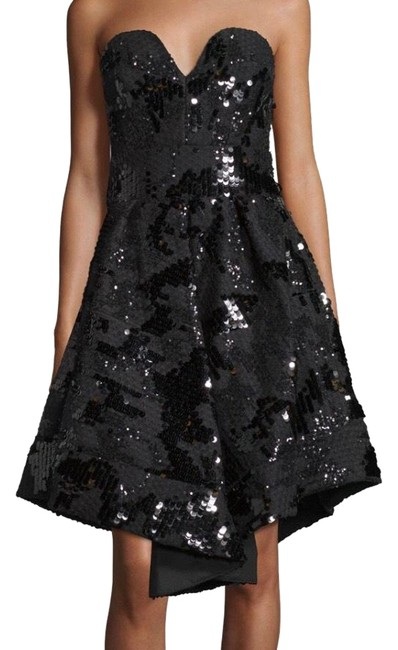 Item - Black Strapless Beaded Mid-length Cocktail Dress Size 2 (XS)