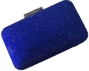 Serpui Jeweled Marie Small Crossbody Strap Blue Clutch