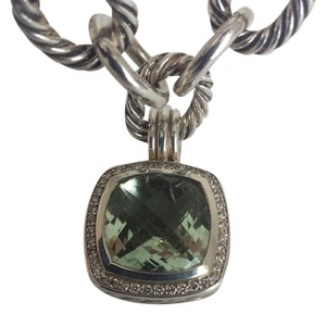 David Yurman David Yurmam Albion Pendant w/ Prasiolite & Diamonds with an Oval Link Chain Necklace