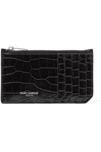 Saint Laurent FRAGMENT ZIPPED CARD CASE IN CROC EMBOSSED SHINY LEATHER