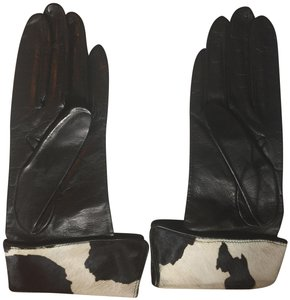 Neiman Marcus Neiman Marcus NWT Black Leather Gloves w Pony Hair Cuffs