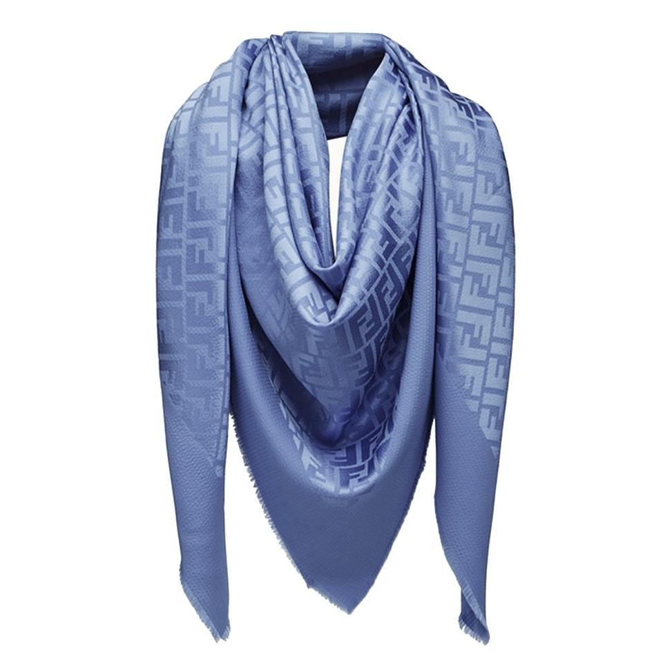 69654af114 Fendi Blue Women's Ff Silk and Wool Shawl Scarf/Wrap 25% off retail