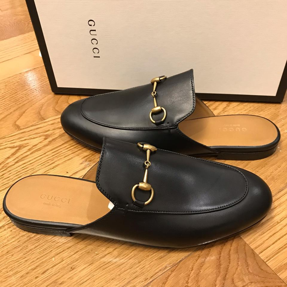 e070ae9f5f6 Gucci Black Princetown Leather Backless Loafers Slippers Mules Slides Size  EU 38 (Approx. US 8) Regular (M