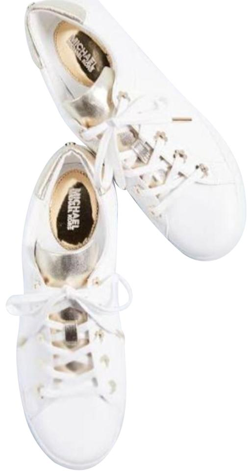 f57fa49f9317 Michael Kors White/Gold Irving Lace Up Leather Women Flat Sneakers ...