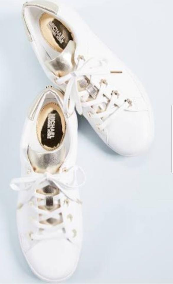 cd35e082cfc Michael Kors White/Gold Irving Lace Up Leather Women Flat Sneakers ...
