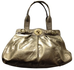 Coach Patent Leather Satchel in Gold