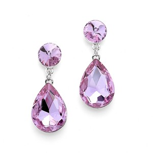 Pear-shaped Drop Bridesmaid Earrings - Light Amethyst