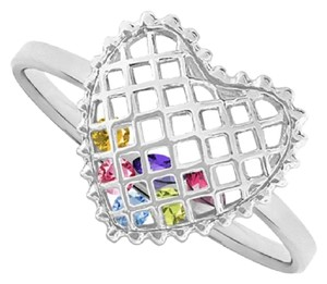 Apples of Gold BIRTHSTONES INSIDE HEART RING IN STERLING SILVER