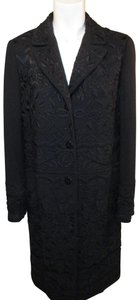 Donna Karan Embroidered Beaded Wool Evening 001 Trench Coat
