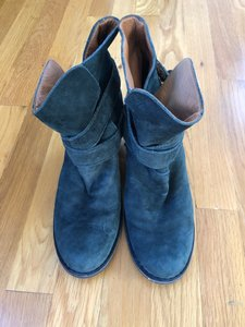 Fiorentini + Baker Suede Chic Straps Distressed Teal Boots