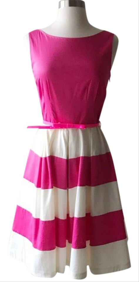 Kate Spade Pink And White Celina Striped Cotton Pleated Mid Length Tail Dress Size 2 Xs 84 Off Retail