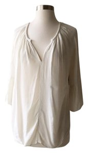 Velvet by Graham & Spencer Bell Sleeves Peasant Top Ivory