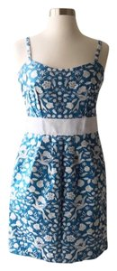 Betsey Johnson short dress Blue and White Embroidered Floral on Tradesy