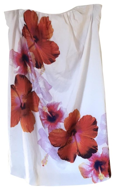 Item - White with Red Orange and Lilac Flowers Strapless Short Casual Dress Size 14 (L)