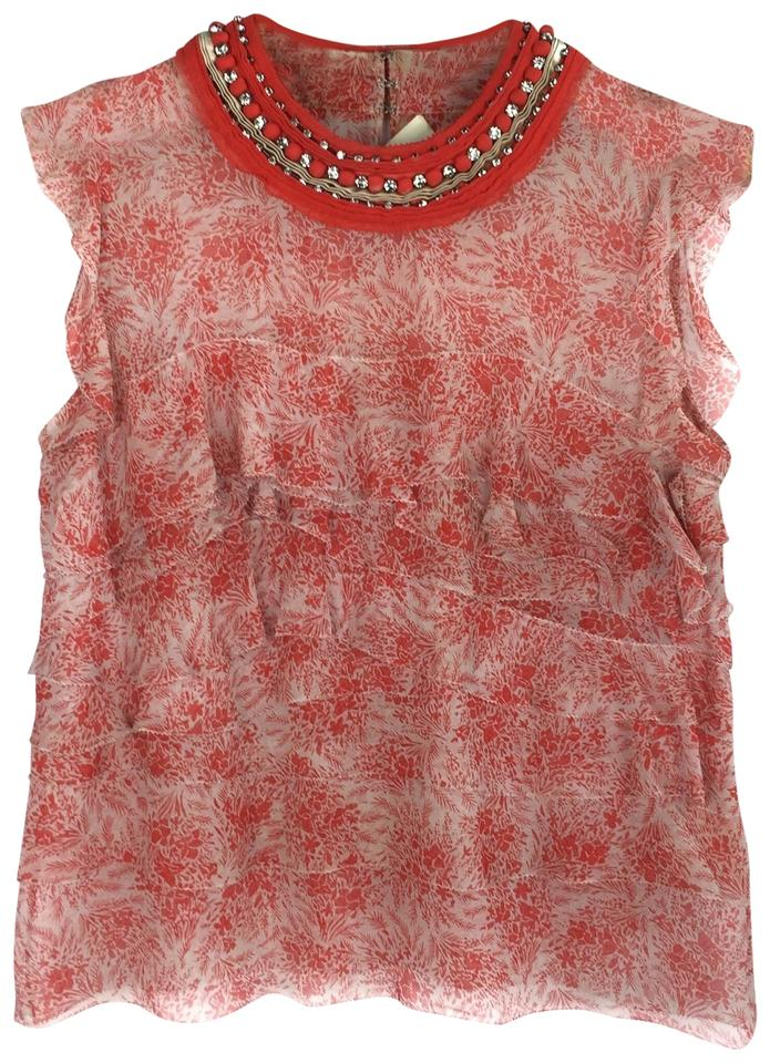 3 1 Phillip Lim Red Tiered Silk Jeweled Collar Blouse Size Os Tradesy