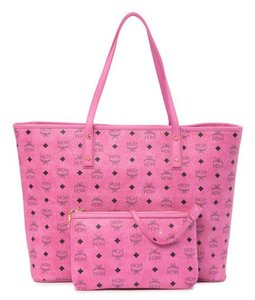 MCM Shopper Monogram Large Tote in Pink