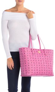 MCM Monogram Large Shopper 2pc Tote in Pink