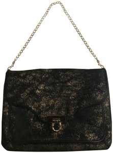 Elaine Turner Calf Hair Leather Hardware black and gold Clutch