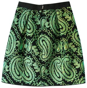 Marc Jacobs Metallic Tapestry Brocade Jacquard Skirt Black and Green