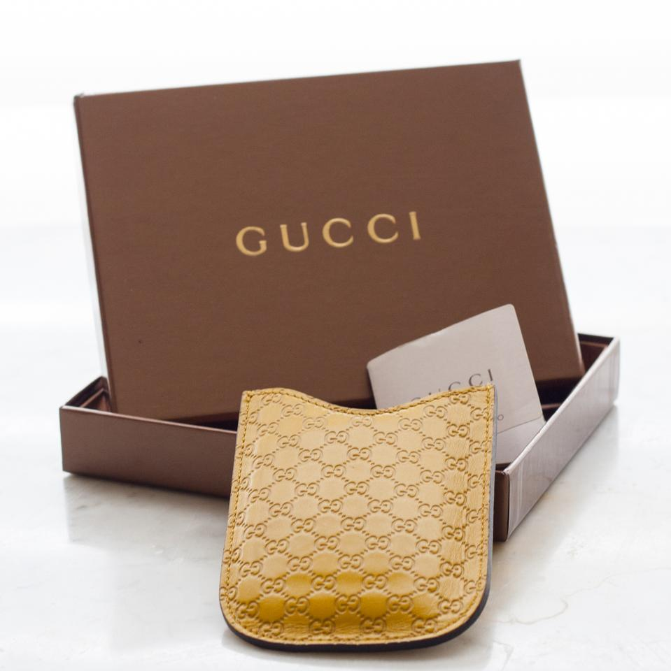 0327c406504 Gucci Yellow Leather Credit Card Holder - with Box Wallet - Tradesy
