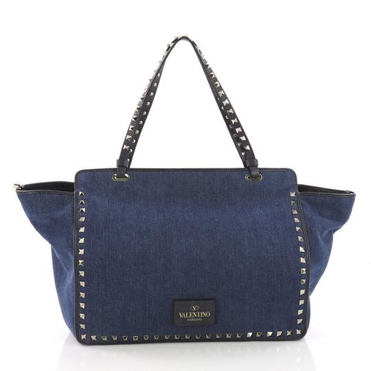 Valentino Rockstud Denim Hobo Bag