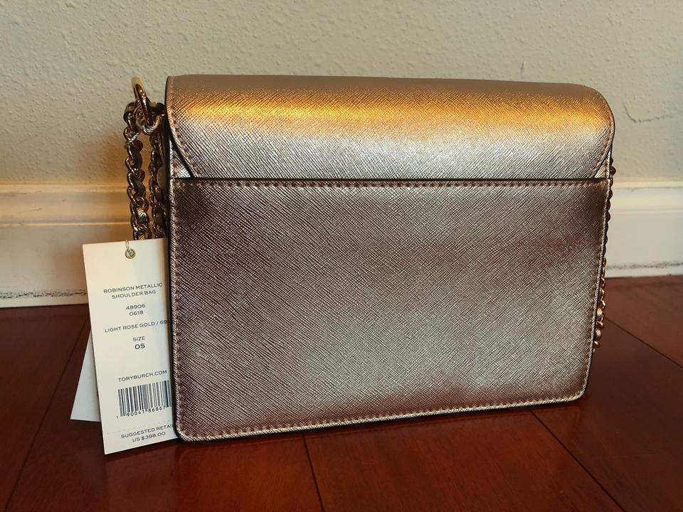 279cdc2c39b Tory Burch Robinson Convertible Metallic Shimmering Light Pink Scratch  Resistant Leather Shoulder Bag - Tradesy