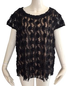 Ann Taylor Top Black and nude