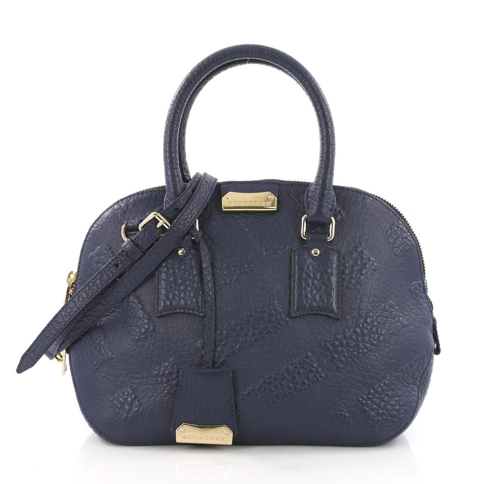 Burberry Orchard Check Embossed Small Navy Leather Tote - Tradesy 3bfa0b775cf24