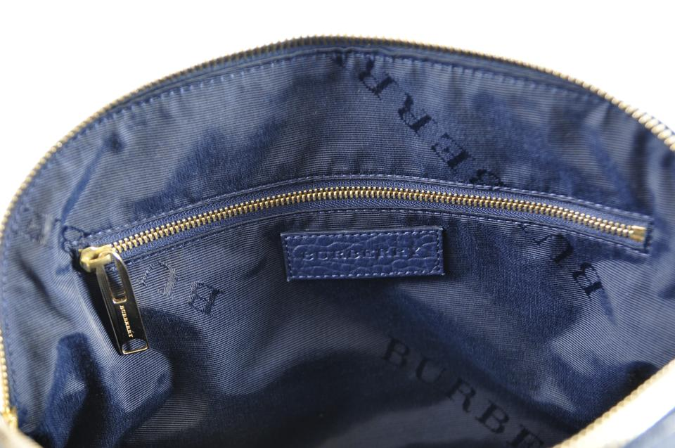 b47df62aa14 Burberry Orchard Check Embossed Small Navy Leather Tote - Tradesy
