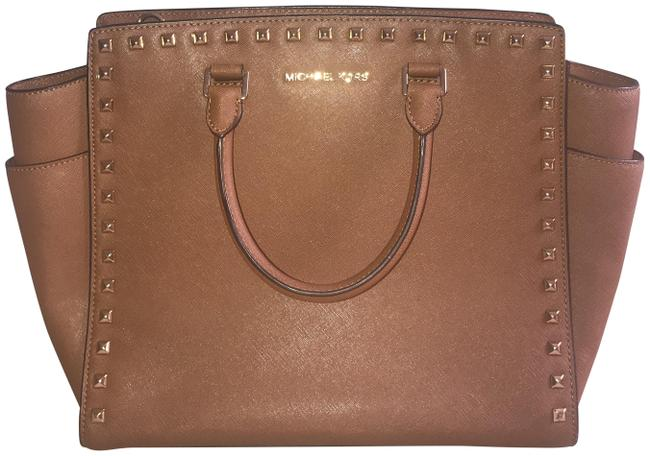 Item - Large Studded Selma Brown Leather Tote