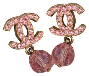 Chanel Authentic Chanel CC Logo Pink Earrings