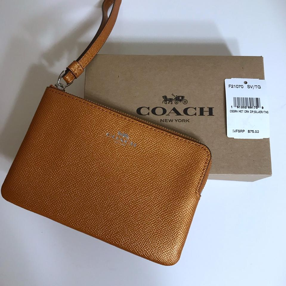 a61dd077ee Coach Small Wallet Metallic Copper Brown Orange. Leather Wristlet ...