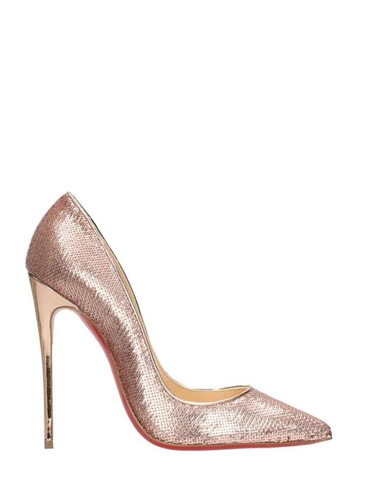 99345e3df1f4 Christian Louboutin Pink Rose Gold So Kate Sequin Pumps Size EU 38.5 ...