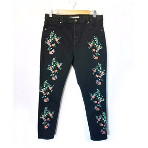 Topshop Embroidered Ankle Skinny Jeans