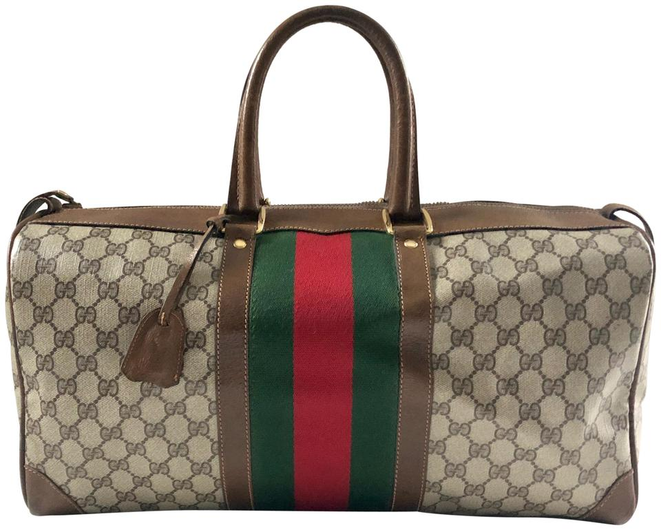 a57dc6b2f0b Gucci Brown Gg Supreme Canvas   Leather Weekend Travel Bag - Tradesy