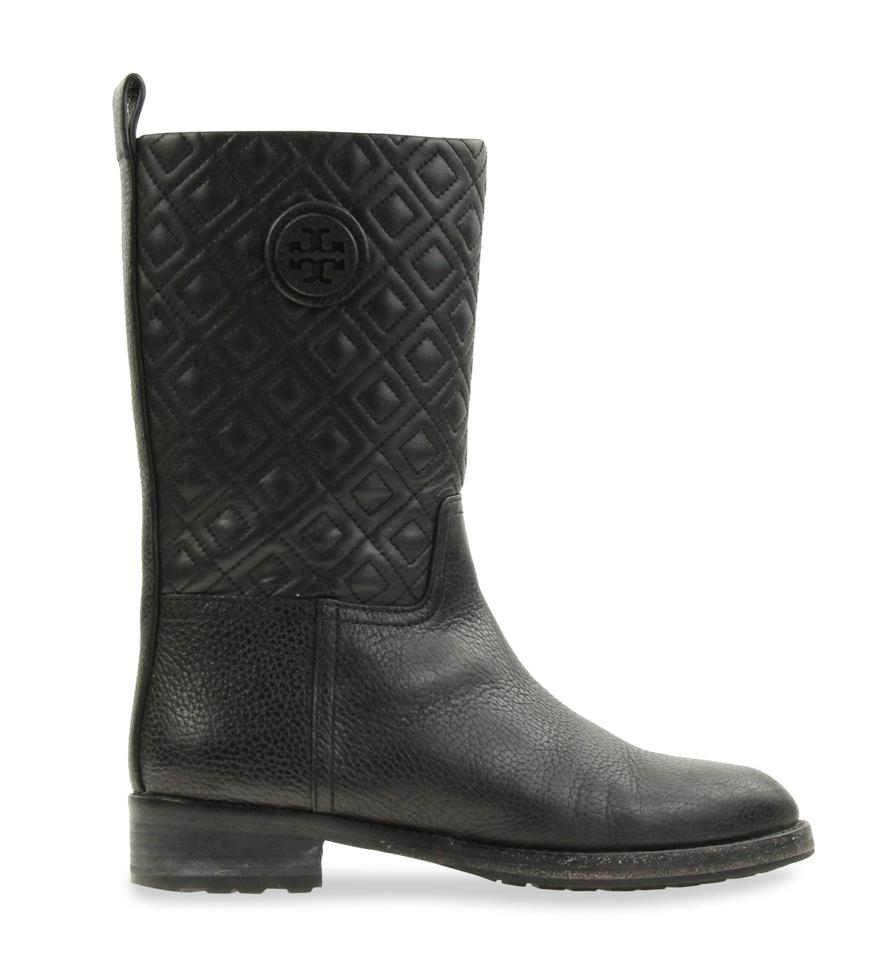 10f9d9dcf73 Tory Burch Black Marion Quilted Leather Boots Booties Size US 7 ...