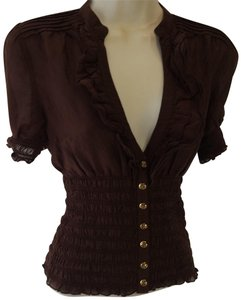 bebe Button Down Shirt Dark Brown
