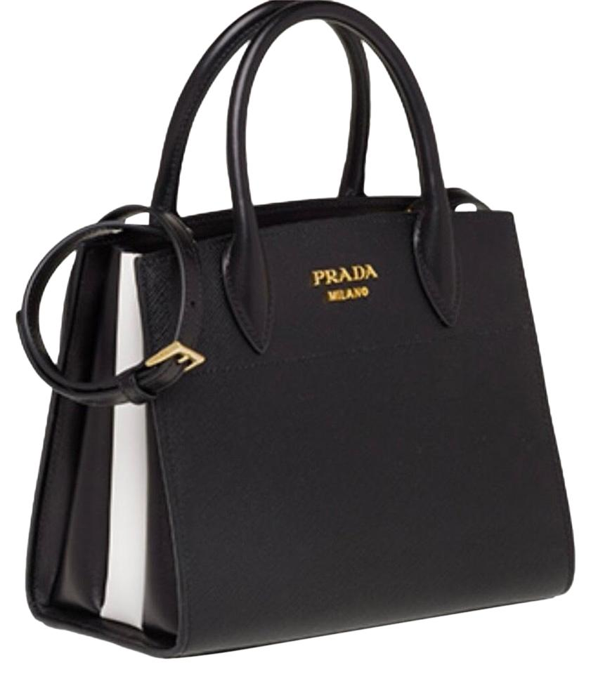 db7de46cf6 Prada Bibliothèque Tote Black/White Saffiano Leather Cross Body Bag ...