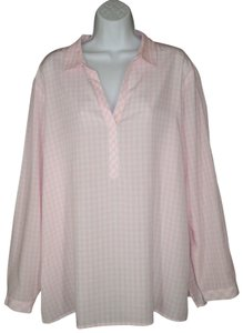 J. Jill Checked Rayon Relaxed Plaid Top Pink/white