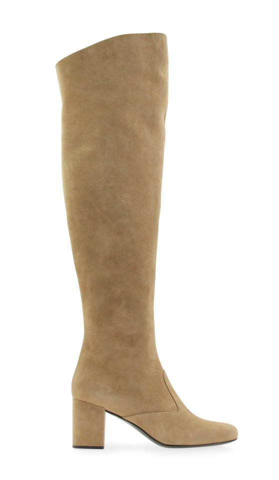 285955624c0 Saint Laurent Tan Suede Over The Knee Boots Booties Size EU 37 ...