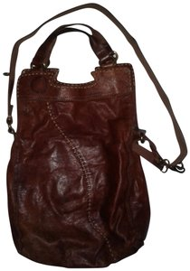 Lucky Brand Italian Leather Crossbody Convertible Large Stitch Brown  Messenger Bag 244f24789a142