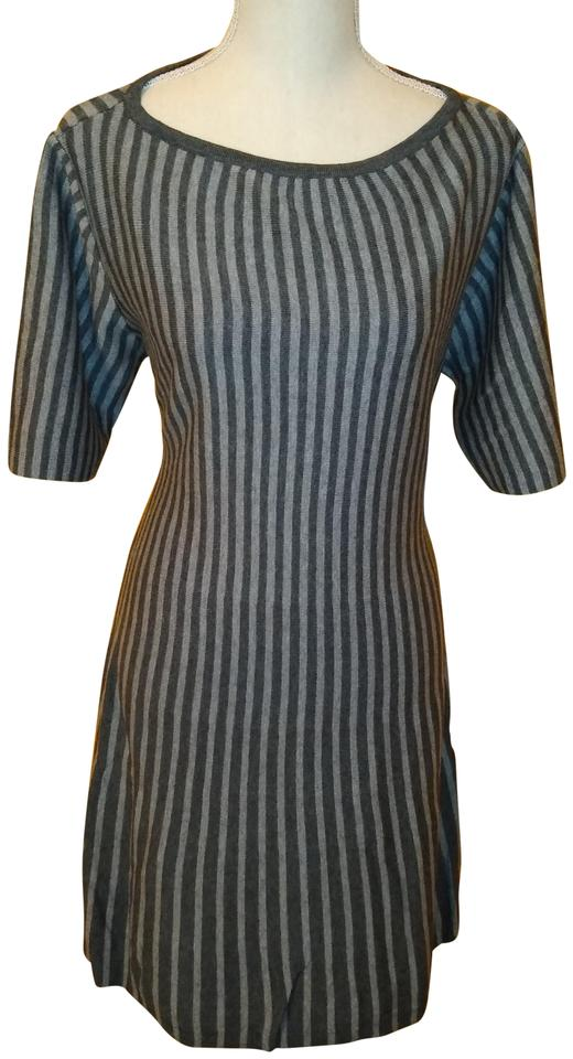 dccb1435717d JustFab Gray Striped Fit and Flare Sweater Casual Maxi Dress Size 20 ...