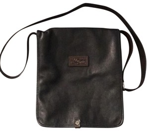 Salvatore Ferragamo Black With Dark Brown Accents Messenger Bag