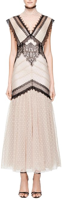 Item - Nude Black New Dotted Mesh Romantic Lace Cocktail Party Long Formal Dress Size 4 (S)