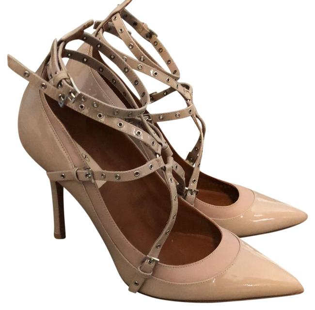 Item - Nude Smooth Leather Love Latch Strappy Grommet Heel Formal Shoes Size US 8 Regular (M, B)