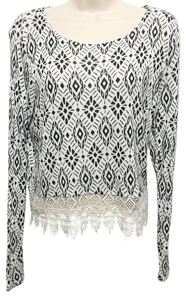 121ca83226 H M Divided Lace Hem Black   White Sweater - Tradesy