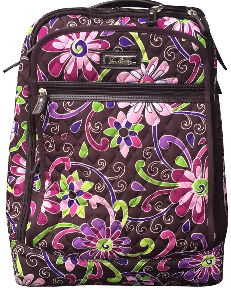 Vera Bradley Carry On Luggage Brown with Purples Pinks and Greens ... 7baa9bfef9815