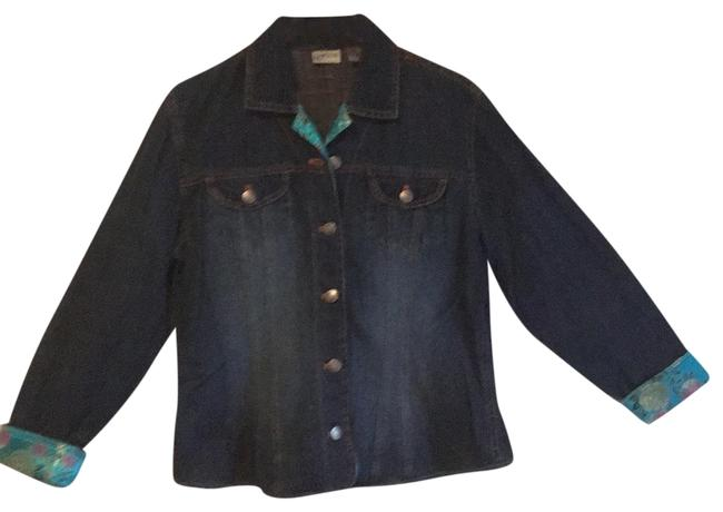 Item - Blue W/Teal Floral Trim and Orange Stitching Nice Silver Buttons Chico Jacket Size 12 (L)