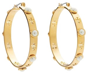 Tory Burch NEW TORY BURCH PEARL GOLD HOOP HOLIDAY EARRINGS HOOPS DUST BAG